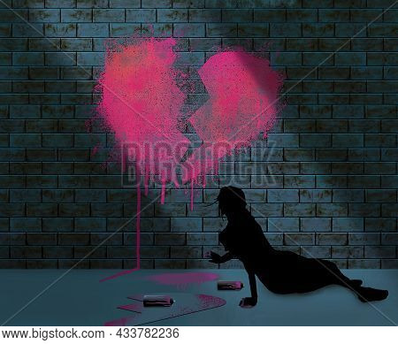 A Broken Hearted Girl Rests On A Sidewalk At Night After Spraying Art Of A Broken Heart On A Brick W