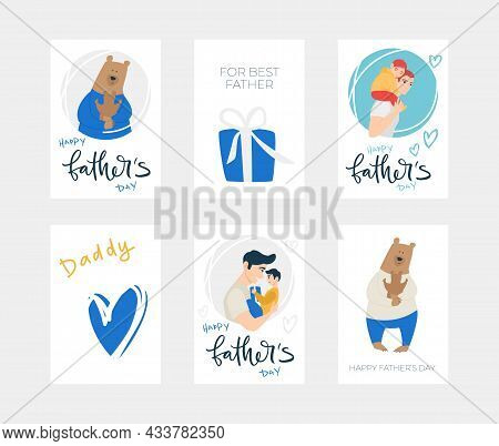 Vector Illustration Character Set, In Concept Of Father's Day. Present, A Bear Hugs His Son, Blue He