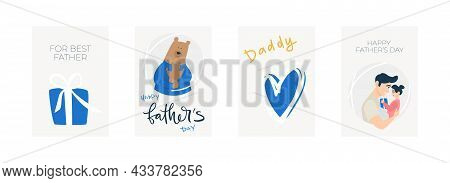 Vector Illustration Character Set, In Concept Of Father\'s Day. Present, A Bear In A Blue Sweater Hu
