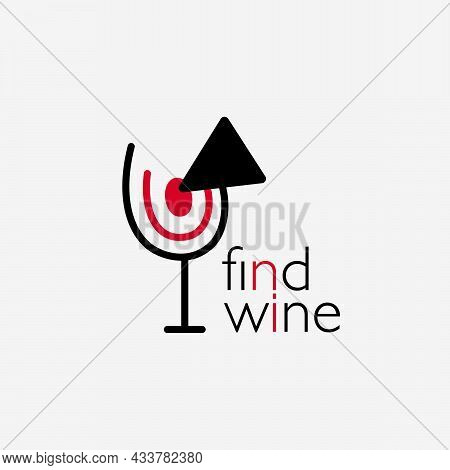 Wine Logo. Logo For A Liquor Store, Restaurant, Bar. A Glass Of Red Wine With A Target And An Arrow