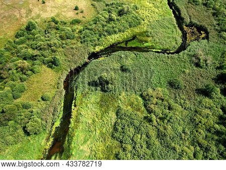 River In The Wild. Aerial View Of Small River In Middle Of Green Field And Forest In The Wilderness.