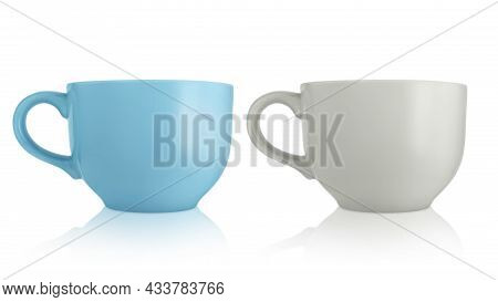 Ceramic Cups. Two Large Empty Ceramic Mug Isolated On White Background. Mugs With A Handle. Gray And