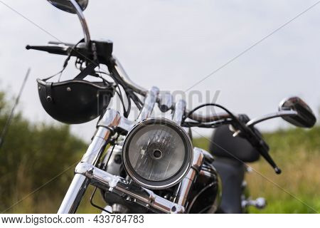 Motorcycle Front View, Motorcycle Headlight, Motorcycle Front Parts, Shiny Chrome.
