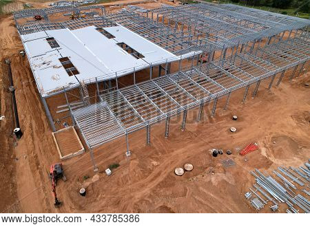 Construction Of Warehouse From Metal Structures. Industrial Building On Light Gauge Steel Framing. F