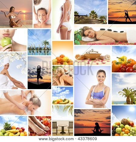 Collage made of many different elements: spa, medicine, massaging, resort, healthy eating and yoga
