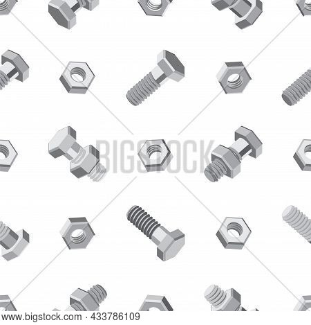 Seamless Pattern With Bolts And Nuts On A White Background. Isometric 3d Vector Illustration In Flat