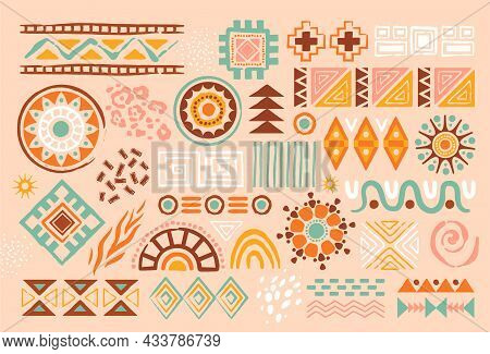 Colorful African Abstract Art Shapes On Pastel Background. Ethnical Ribal Doodle Decoration With Ran