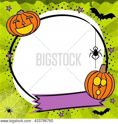 Comic Halloween Round Frame With Pumpkins, Stars And Bats. Bright Template With Hanging Spider, Bats