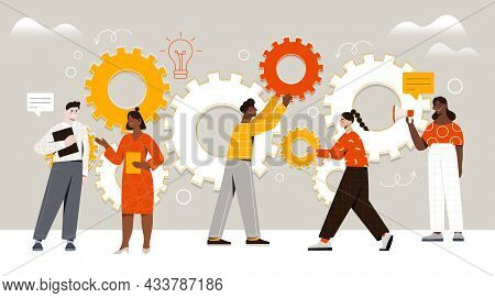 Male And Female Characters Are Assembling Cogwheels Together At Work. Concept Of Work Operations And
