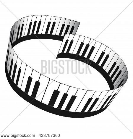 3d Piano Keyboard In Isometric Style. Realistic Piano Keys Round Shaped. Musical Instrument Keyboard