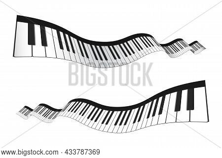 Set Of 3d Piano Keyboard In Perspective Or Isometric Style. Realistic Piano Keys In Different Angles