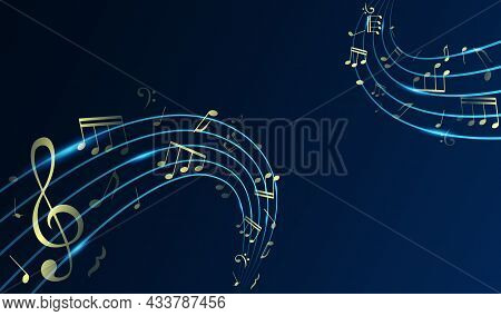 Flowing Shiny Musical Waves With Notes On Stylish Background. Abstract Musical Background. Gold Musi