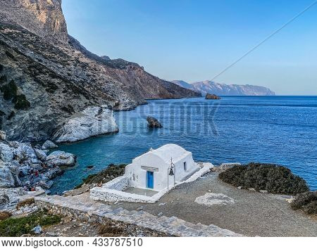 Agia Anna beach with its small white chapel, Amorgos island, Cyclades, Greece.