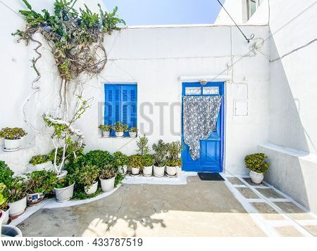 Typical greek front yard with white wall, blue door and lots of plants to decorate