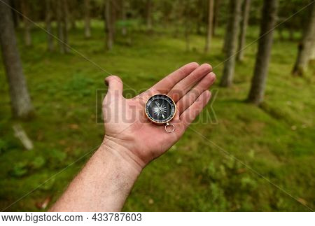 Compass In Hand At Forest. Tourist Compass For Orientation On The Terrain. Magnetic Declination Alcu