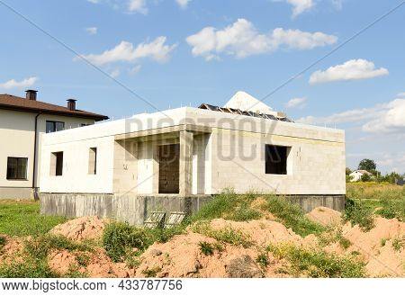 Construction Of Country Modern House. Cottages, Townhouses And Line Suburb Houses. Unfinished Privat