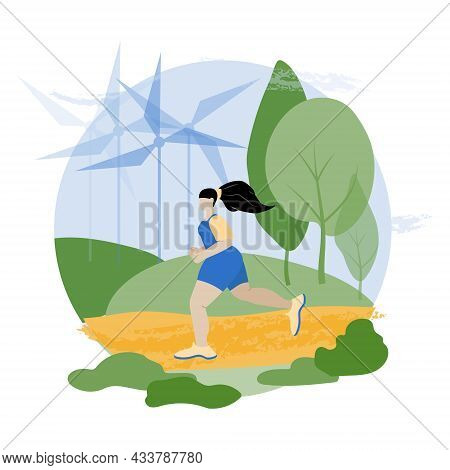 Healthy Lifestyle Concept. Body Positive. Girl Positive Jogging In The Park. Ecology. Windmills. Spo
