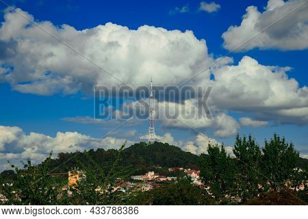 Landscaped Infrastructure Object Tv Tower Telecommunication Point On A Top Of Hill Cityscape Photogr