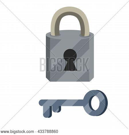Closed Lock And Keyhole. Cartoon Flat Illustration. Metal Key.