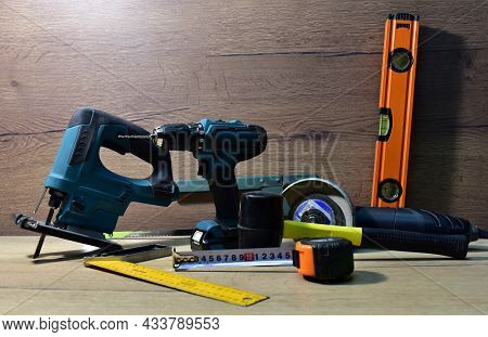 Construction Tool For Working With Wood. Woodworking Tool Concept. Finishing Carpentry Tools. Hand T
