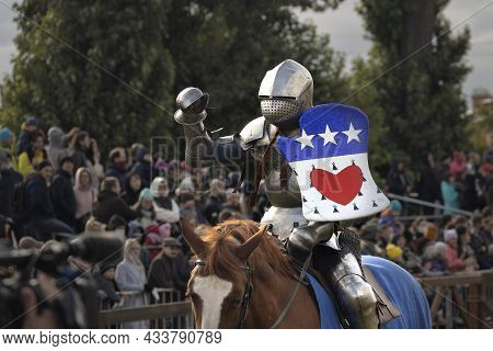 Knight In Armor On Horseback, Knightly Tournament Battle On The Neva St. Petersburg, Russia, Septemb