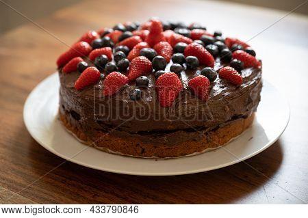 Homemade Chocolate Cake With Berries