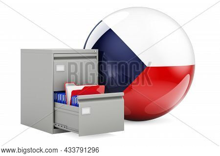 Database In Czech Republic, Concept. Folders In Filing Cabinet With Czech Flag, 3d Rendering Isolate