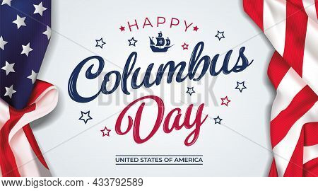 Usa Columbus Day Greeting Card With Brush Stroke Background In United States National Flag. Vector I