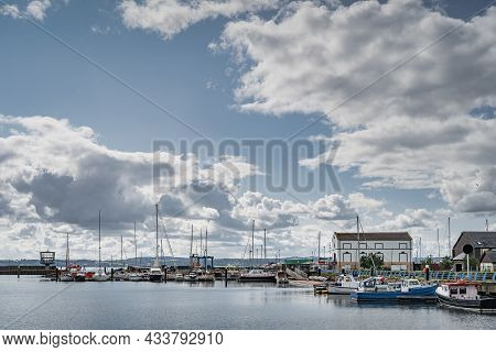 Yachts, Sailboats And Fishing Boats Moored In Small, Beautiful Marina In Carrickfergus Town, Norther