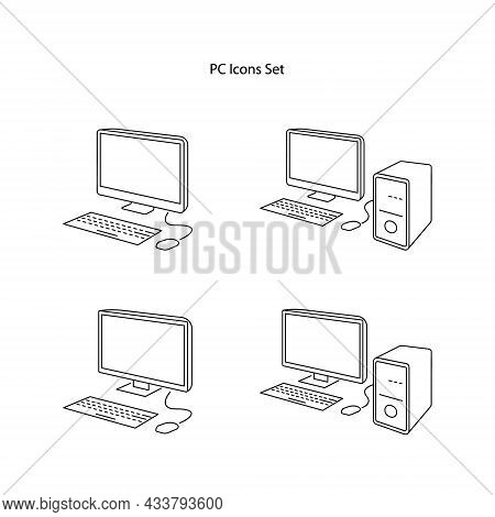 Pc Computer With Monitor Icon Isolated On White Background. Pc Computer With Monitor Icon Trendy And