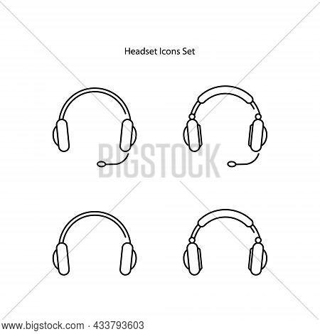 Headset Icons Set Isolated On White Background. Headset Icon Thin Line Outline Linear Headset Symbol
