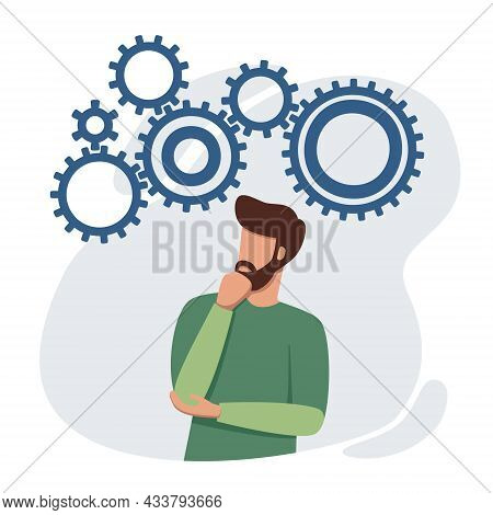 Puzzled Man Looking For Problem Solution. Brainstorming And Situation Analysis Concept