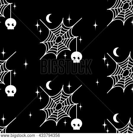 Decorative Spider Web Pattern With Spider And Night Moon, Stars. Decor For The Holiday Of Halloween.
