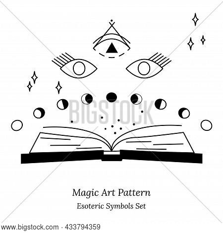 Illustration Of Spiritual Session. Set Of Magic Items, Magic Book, Phases Of Moon, Stars. Opening Th