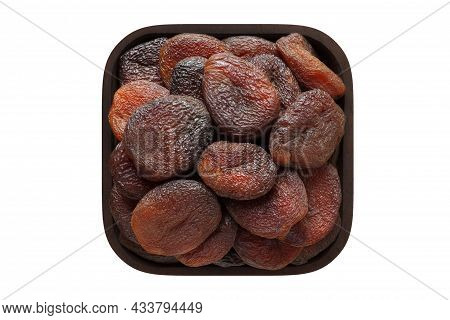 Chocolate Dried Apricots In Wooden Bowl Closeup. Vegetarian Food, Apricot Isolated On White.