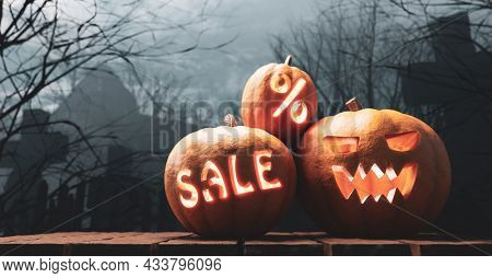 Halloween pumpkins with sale carving glowing on gothic graveyard. Jack-o'-lantern scary carved face. 3d render