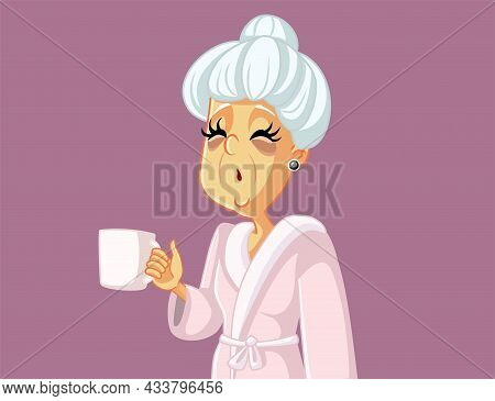 Tired Old Woman Holding A Coffee Mug Vector Cartoon