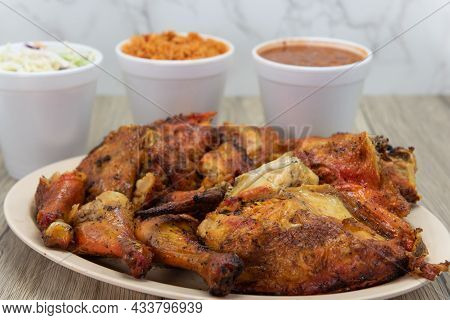 Enormous Pile Of A Full Chicken And A Half, Roasted To Perfection, On A Plate With Mexican Rice, Col