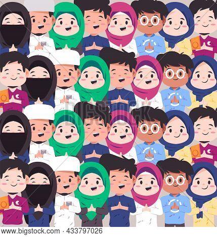 Various Couple Muslim Islamic Character Face With Various Dress Diversity In Islam Mosaic Modern Car