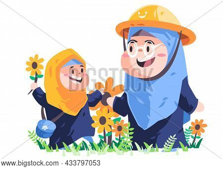 Muslim Mother And Girl With Blue Hijab Is Gardening Sunflower In Garden Wearing Hijab Scarf Vector D