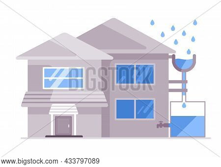 The House Apply Hydrologic System Harvesting Water Rain In A Tank To Be Recycle Home Living Reduce U