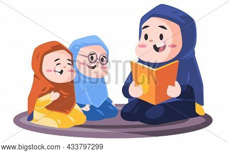 Muslim Woman With Hijab Teaching Holy Book Alquran Quran With Children Modern Cartoon Flat Color Sty