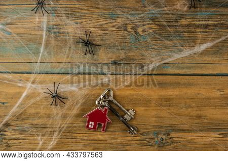 House symbol with silver keys, spider web and black spiders on a wood table. Top view
