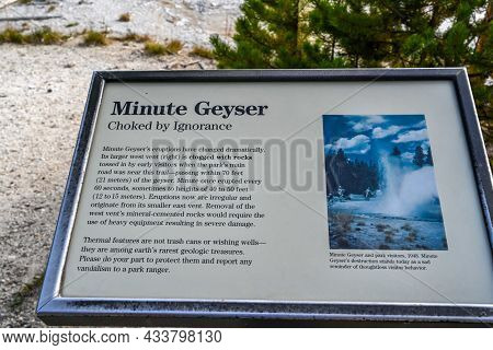 Yellowstone Np, Wy, Usa - Aug 12, 2020: The Minute Geyser