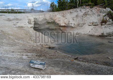 Yellowstone Np, Wy, Usa - Aug 12, 2020: The Green Dragon Spring