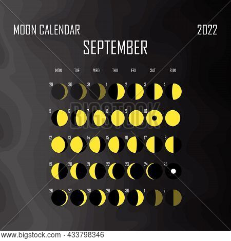 September 2022 Moon Calendar. Astrological Calendar Design. Planner. Place For Stickers. Month Cycle
