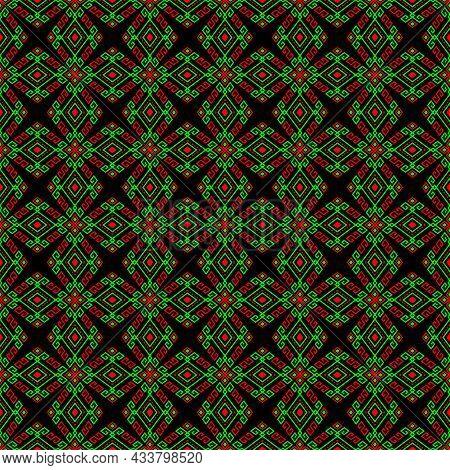 Green Red Tribal Or Native Seamless Pattern On Black Background In Symmetry Rhombus Geometric Bohemi