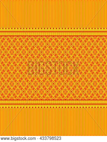 Yellow Red Native Or Ethnic Seamless Pattern On Yellow Background In Symmetry Rhombus Geometric Bohe