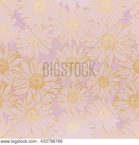 Floral Vector Seamless Pattern Of Chamomile Flowers In Light Lilac Pastel Colors With Golden Outline