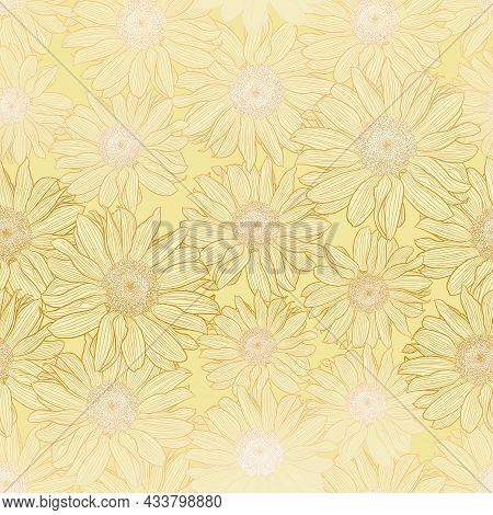 Vector Seamless Pattern Of Chamomile Flowers In Light Yellow Pastel Colors With Bronze Outline. Deco